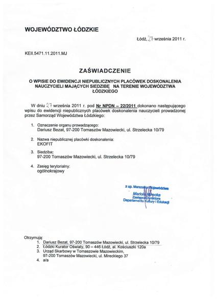 Zaświadczenie o wpisie do ewidencji niepublicznych placówek doskonalenia nauczycieli (1)